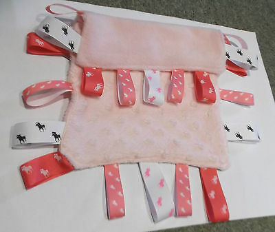 Childs baby ribbon PINK taggie cuddle tag blanket fleece dimple pony horse