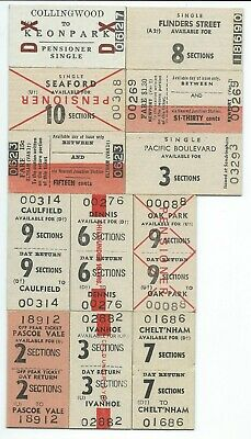 12 MELBOURNE Suburban Tickets from Different Stations