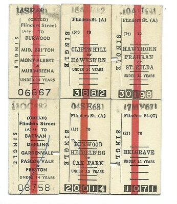 6 Different Child Singles from FLINDERS ST Tickets