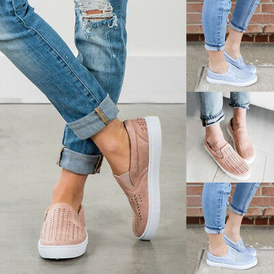 a750c00c0d5b Womens Casual Canvas Hollow Out Round Toe Flats Slip On Loafer Shoes  Sneakers US