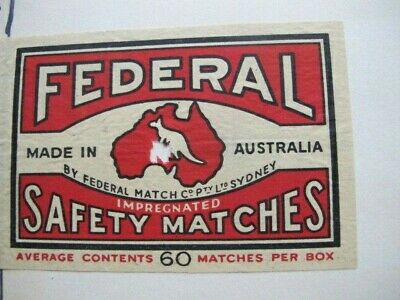 Vintage Federal Safety Matches - Large Label - Kangaroo in Map of Australia