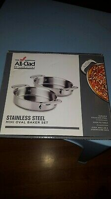 All-Clad Metalcrafters Stainless Steel Mini Oval Baker Set Of 2 Brand New In Box