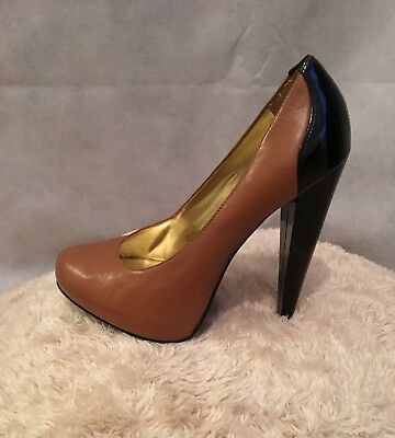 03fdd71b10 Cathy Jean Brazil Women's Brown & Black Chunky High Heel Pumps Size 7.5 Med