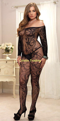 Sexy Ladies Long Sleeves Body Stocking Black Women Open Crotch Bedroom Lingerie
