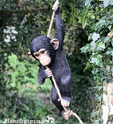 Large 55cm Climbing Monkey on rope garden ornament decoration chimp lover gift