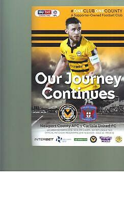 PROGRAMME - NEWPORT COUNTY v CARLISLE UNITED - 2 MARCH 2019