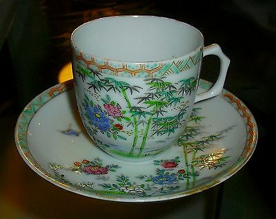Marvelous Antique Chinese Famille Verte Enameled Cup And Saucer Set