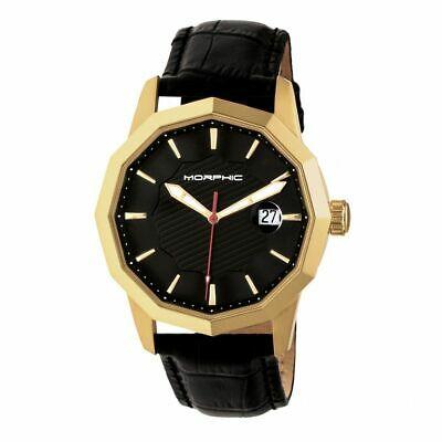 Morphic M56 Series Leather-Band Watch wDate - GoldBlack