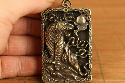 unique chinese old bronze hand carved tiger statue pendant netsuke gift