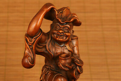 Antique chinese Boxwood God of wealthy bring money lucky statue netsuke Figure