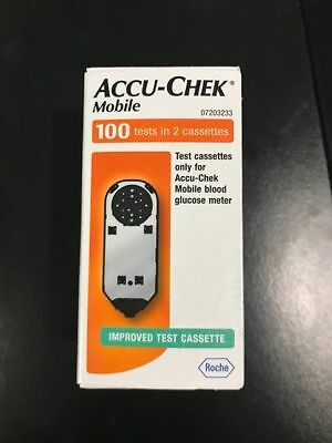 Brand New MOBILE ACCU-CHEK 100 TESTS in 2 Cassettes (Exp-04/2020)** GENUINE**