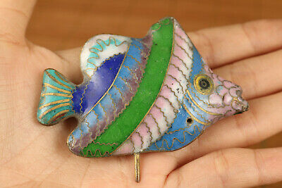Lovely chinese old cloisonne hand carved fish figure statue collectable gift