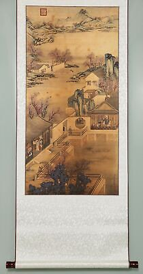 Long Rare Chinese Landscape Paper Handmade LangShiNing Old Scroll Painting YY57