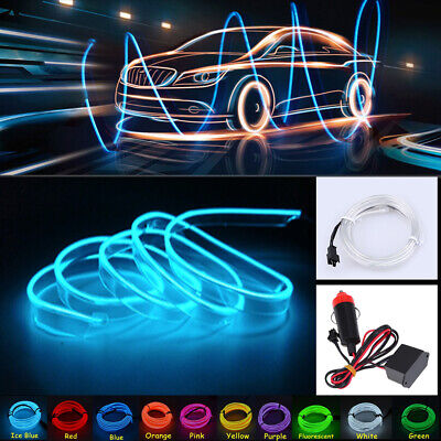 3m EL Wire Car Auto Interior Styling Moulding Trim LED Strip DIY Line Ice Blue