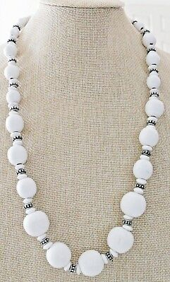 """Vintage Painted White Wood and silver tone bead 24"""" necklace"""