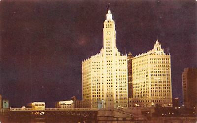 Chicago Illinois~The Wrigley Building At Night~1960 Postcard