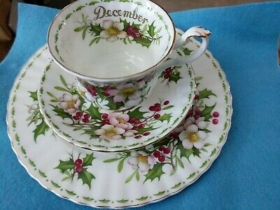 Royal Albert December Christmas Rose Bone China Tea Cup, Saucer, Plate  England