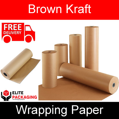 600MM x 10M STRONG BROWN KRAFT PAPER  ROLL PARCEL PACKAGING WRAPPING 90GSM