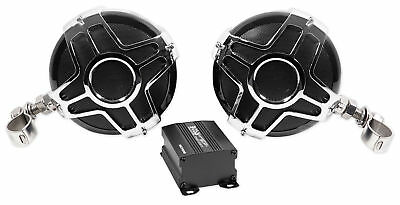 "Pair Boss MC750B 4"" 1000 Watt Motorcycle/ATV Handlebar Speakers+Amplifier+Remote"