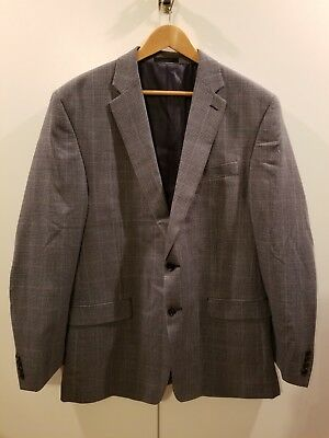 Lauren Ralph Lauren Blue Gray Silk/Wool 2 Button Suit Jacket Blazer Mens 44L