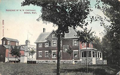 Homer Michigan~William Horace Cortright Mansion~Owner Milling Co~1910 Postcard