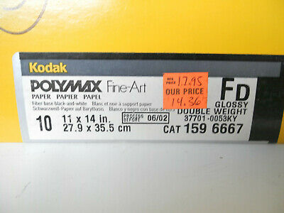"Lot of 5 11"" x 14"" sheets of Kodak Polymax Fine Art FD Glossy Print Paper"