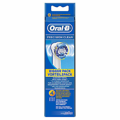 Braun Oral-B Precision Clean Replacement Electric Toothbrush Heads 4 Pack 100%.