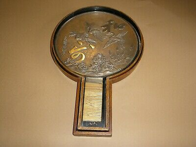Fine Antique JAPANESE MEIJI HANDHELD BRONZE SILVERED MIRROR Signed in FITTED BOX