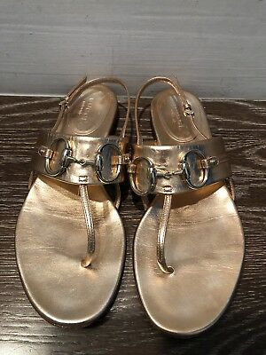 cc59d55f2ed Gucci Metallic Rose Gold Leather Horsebit Thong Sandals Sz 6