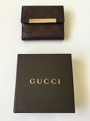 4b816cfe2ab8 Authentic Gucci French Flap Wallet Debossed Signature Leather