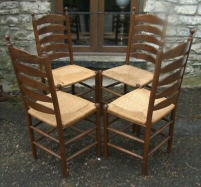 Antique style vintage oak set of 4 ladder back kitchen dining CHAIRS rush seats
