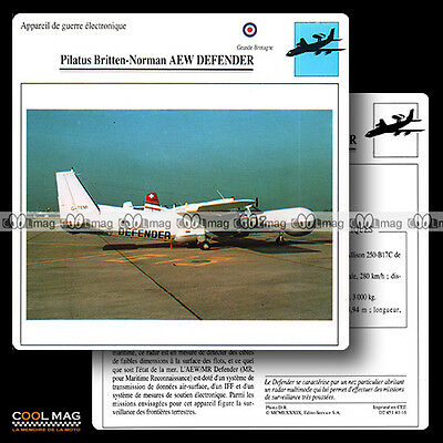 #041.16 PILATUS BRITTEN NORMAN AEW DEFENDER - Fiche Avion Airplane Card