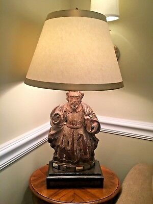 19th C. Spanish Gilt Wood and Polychrome Santos Saint Figural Lamp
