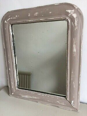 19C Antique French Painted Mirror Grey Distressed Original Glass & Back 39x33cm