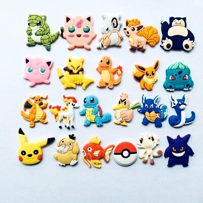 22pcs Pikachu Shoe Charms Fits Jibbitz Clog Shoes & Bands Wristband Child Gifts