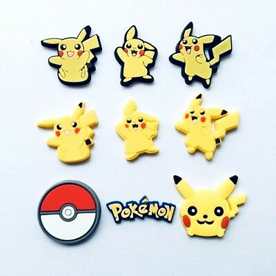 9pcs Pickachu Shoe Charms Fits Jibbitz Clog Shoes & Bands Wristband Child Gifts