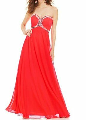 663ced5813e3f Xscape Dress Sz 10 Neon Coral Beaded Mesh Strapless Corset Formal Evening  Gown