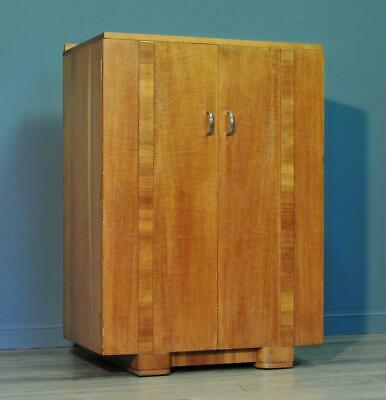 Attractive Small Vintage Art Deco Oak Tallboy Cabinet With Shelves