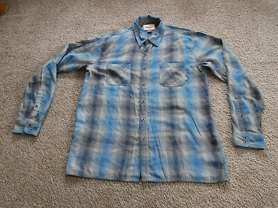 SIMMS Fishing Rare YELLOWSTONE CLUB,Men's XL Flannel,Blue/Gray Plaid