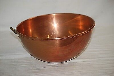 "Old Vintage England Solid Copper 10-1/2"" Mixing Bowl w Brass Ring Handle Rolled"