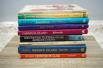 Lot of 10 Antique Glass Books Collector Price Guides Reference Depression Art