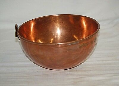 "Old Vintage Solid Copper 8-1/4"" Mixing Bowl w Brass Ring Handle Rolled Edge b"