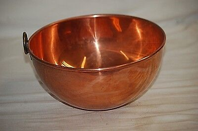 "Old Vintage Solid Copper 8-1/4"" Mixing Bowl w Brass Ring Handle Rolled Edge a"