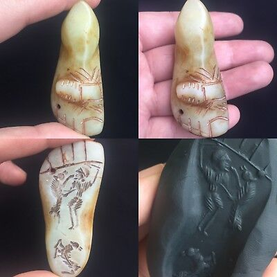 Wonderful unique old jade feet with men hunting intaglio