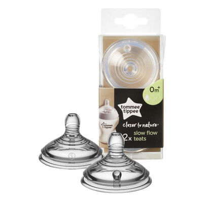 Tommee Tippee Closer To Nature Baby Milk Bottle Teat Vent Slow Flow Twin Pack
