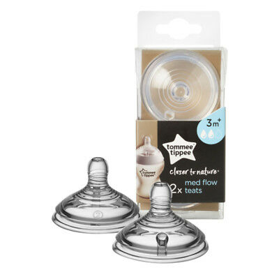 Tommee Tippee Closer To Nature Baby Milk Bottle Teat Vent Medium Flow Twin Pack