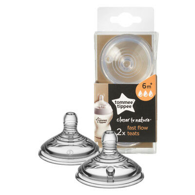 Tommee Tippee Closer To Nature Baby Milk Bottle Teat Vent Fast Flow Twin Pack