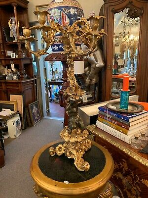 Pair 19thC Antique Dore Gilt Bronze Cherub Sculptures Flower Candelabra