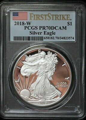 2018 W PCGS PR70 DCAM Proof Silver Eagle 1$ Coin