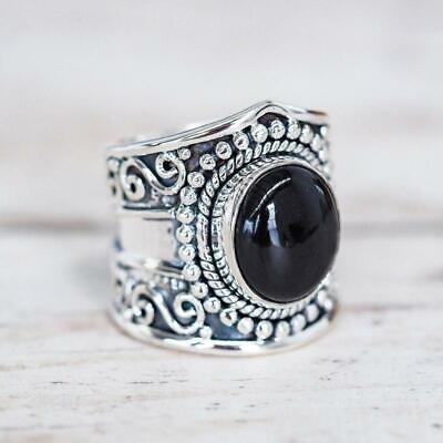 Punk Ring Jewelry Silver Ancient Black Agate Stones Hollow Female Finger Ring LJ